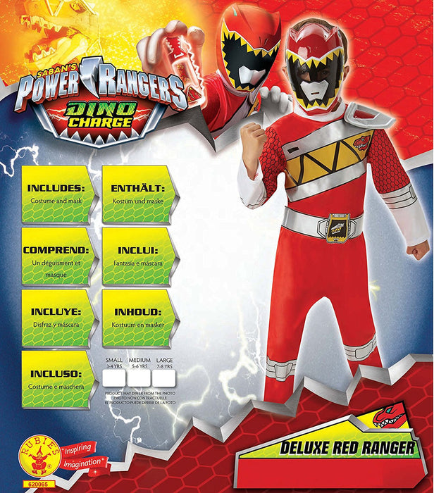 Rubie's Official Child's Power Rangers Dino Charge Deluxe Red Ranger - Medium Ages 5-6