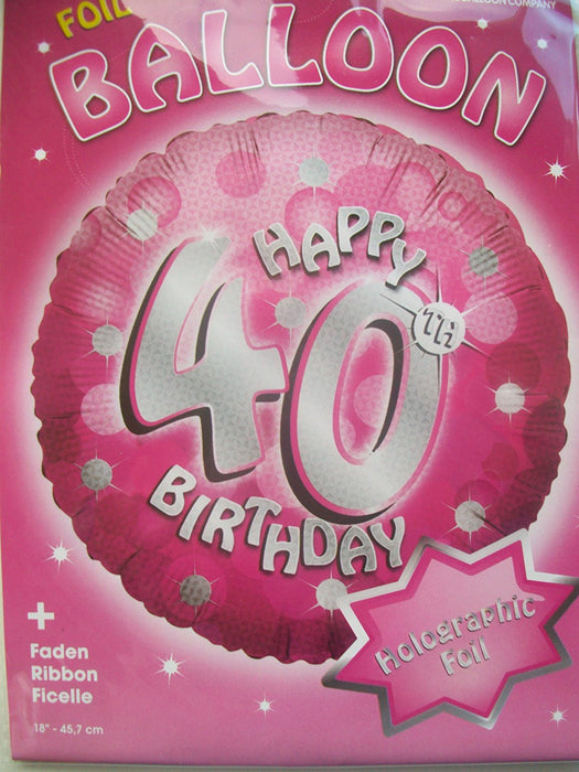 Amscan 18-inch 40-Piece Holo Evt Birthday Party Accessory, Pink