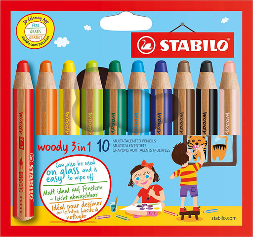 STABILO Woody 3-in-1 Multi-Talented Pencil - Assorted Colours, Wallet of 10