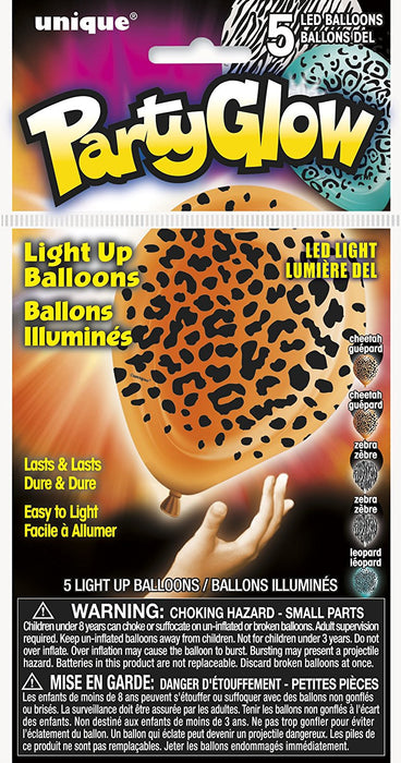 "10"" Latex Animal Print LED Light Up Balloons, Assorted Pack of 5"