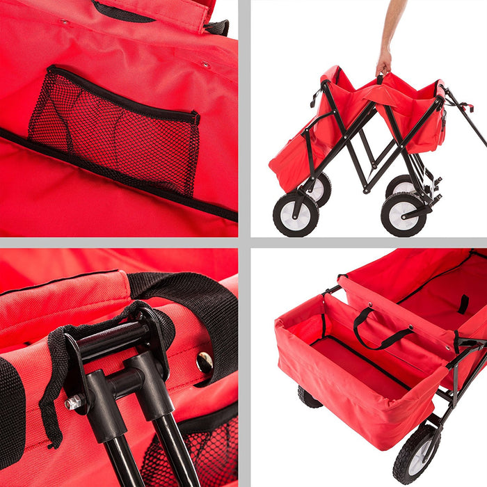 Ultrasport Folding Cart / Pull Cart / Picnic Cart with Transport Case, Max. Weight Capacity of up to 121 lbs (55 kg), Red