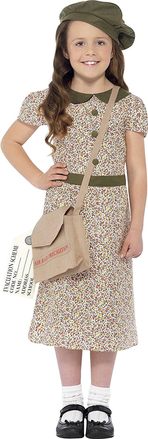 Smiffy's Children's Evacuee Girl Costume, Dress, Satchel, ID Tag & Beret, Ages 10-12, Colour: Pattern, 27533