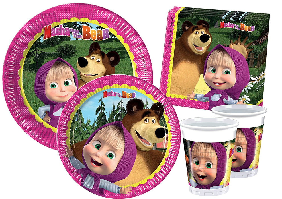 Ciao Y2522 Party-Party Table Masha and the Bear For 8 Persons (44 Pieces: 8 Plates, Large, Medium, 8 Plates, 8 Cups, 20 Serviettes)