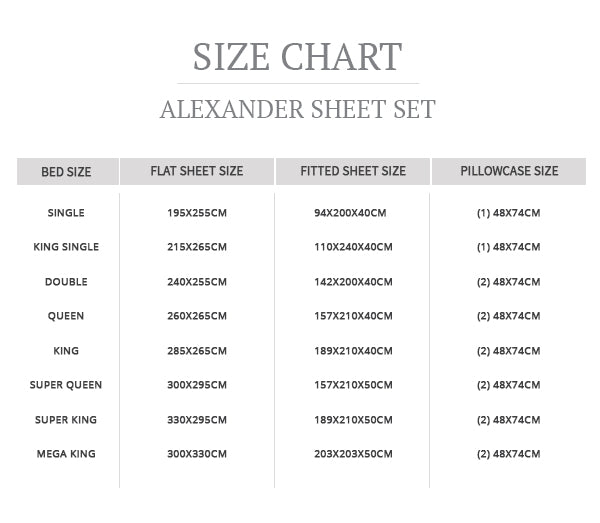 Size guide Alexander sheet set