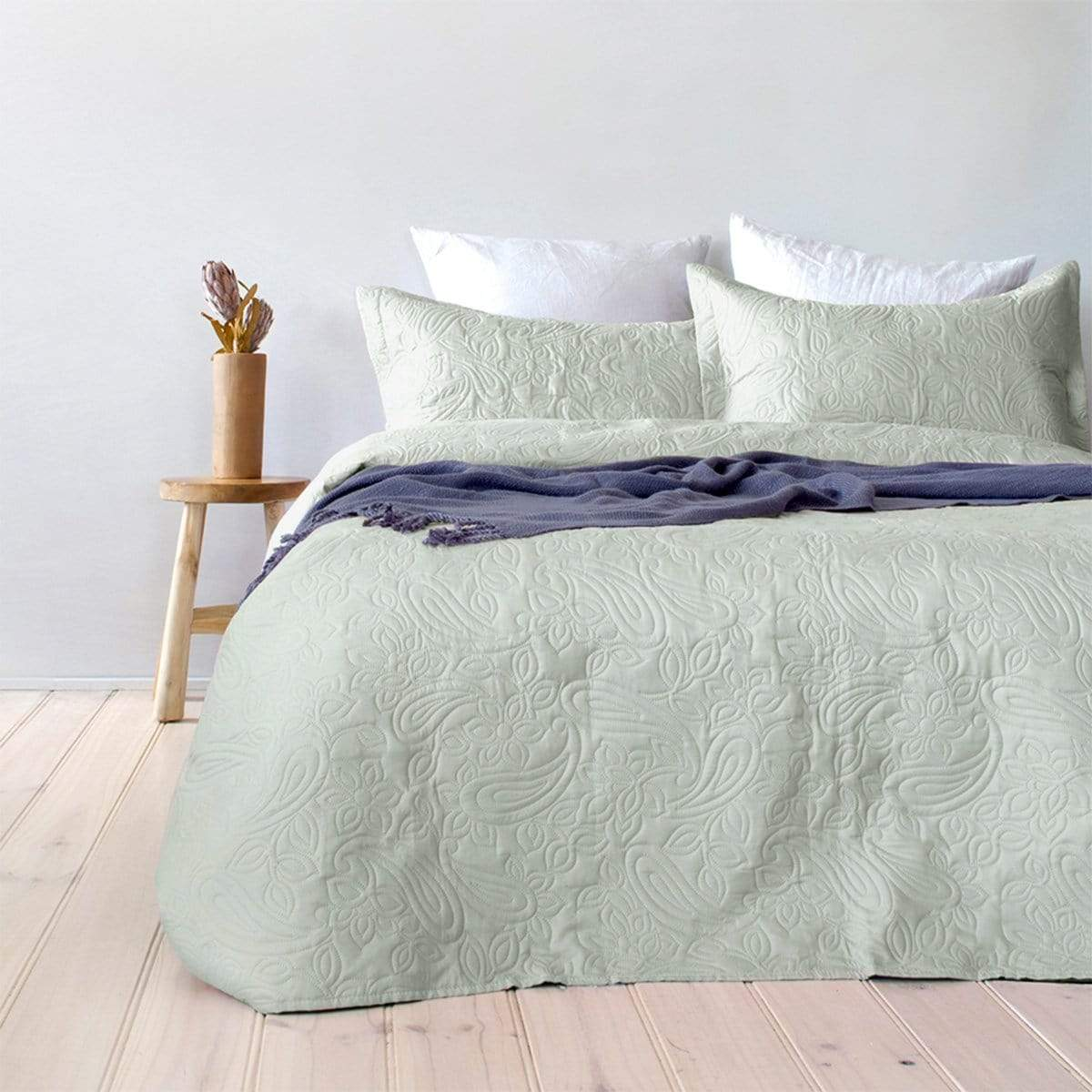 Bambury Paisley Mist Green Coverlet Set Myhouse
