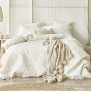 BREANNA SILK CREAM QUILTED QUILT COVER SET - MyHouse