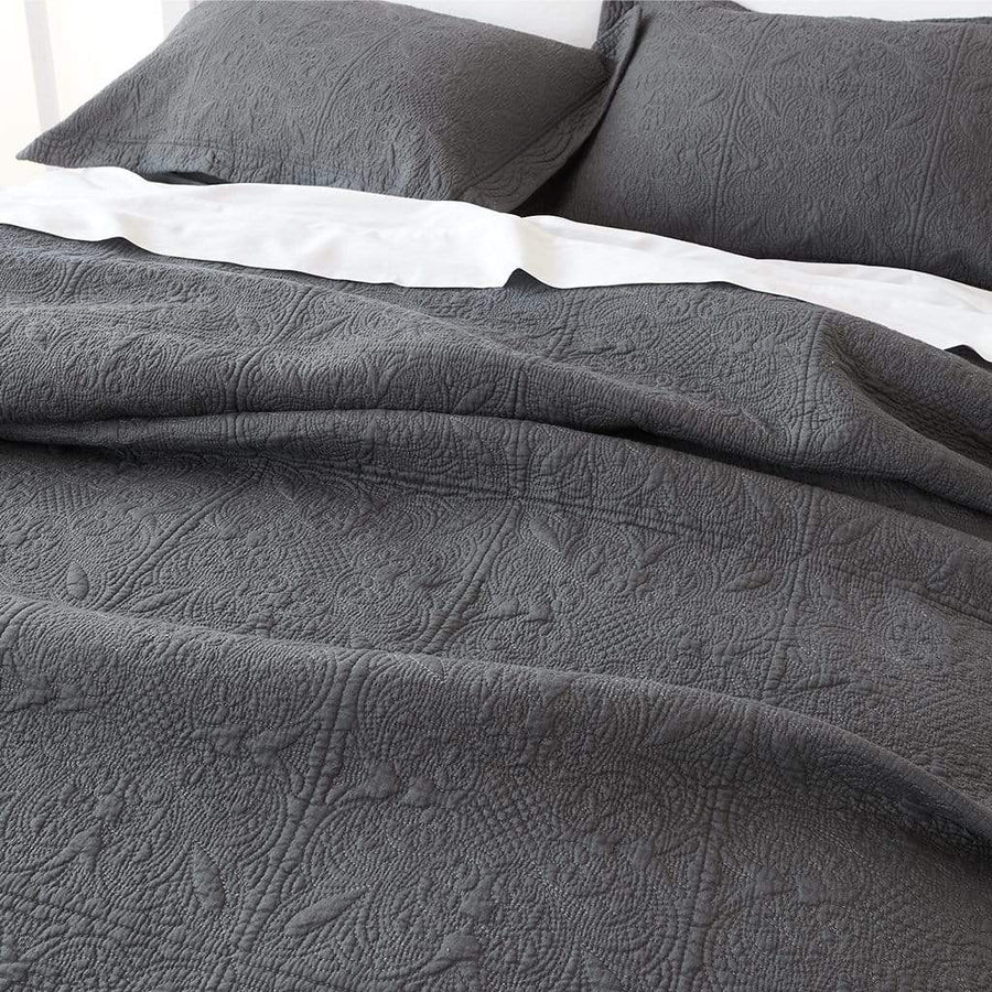 FLORENCE CHARCOAL COVERLET SET