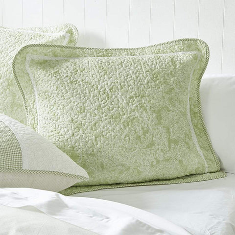 Gillian Green Quilted Quilt Cover Set - MyHouse