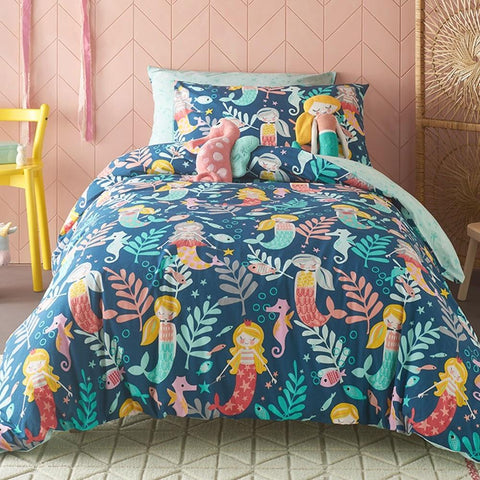 Kas Kids Sirena Quilt Cover Set with Mermaids, Seahorses and Fish