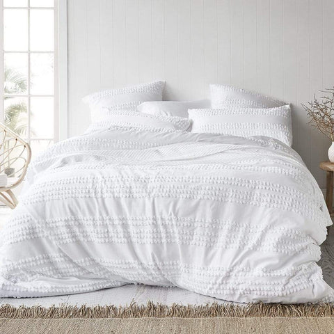 MALAYA WHITE QUILT COVER SET - MyHouse