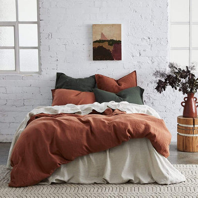 PURE EUROPEAN LINEN QUILT COVER SET RUST - MyHouse