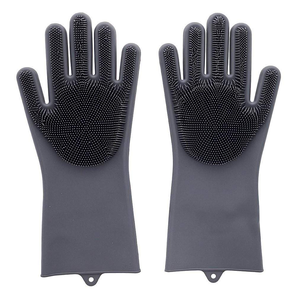 Scruba-Dub Antibacterial Silicone Cleaning Gloves Dove Grey