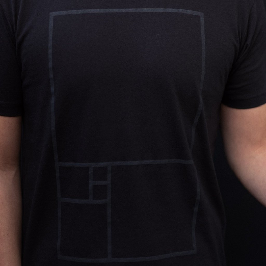 Golden Ratio shirt - aka Fibonacci - minimal black on black t-shirt for designers by Blakbits