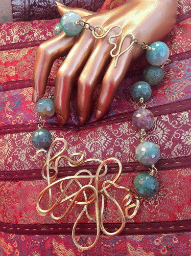 One Of A Kind Brass and Cracked Agate Necklace