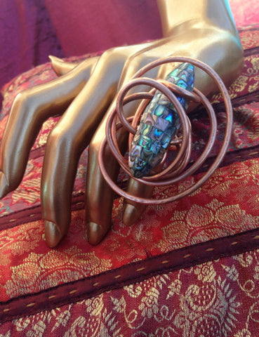 One of A Kind Statement Copper and Abalone Wire Wrapped Ring