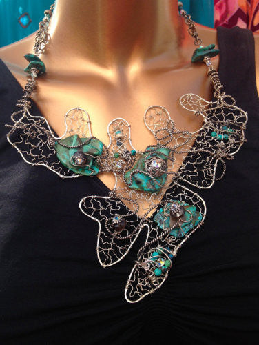 One Of A Kind Wire Sterling And Turquoise Necklace