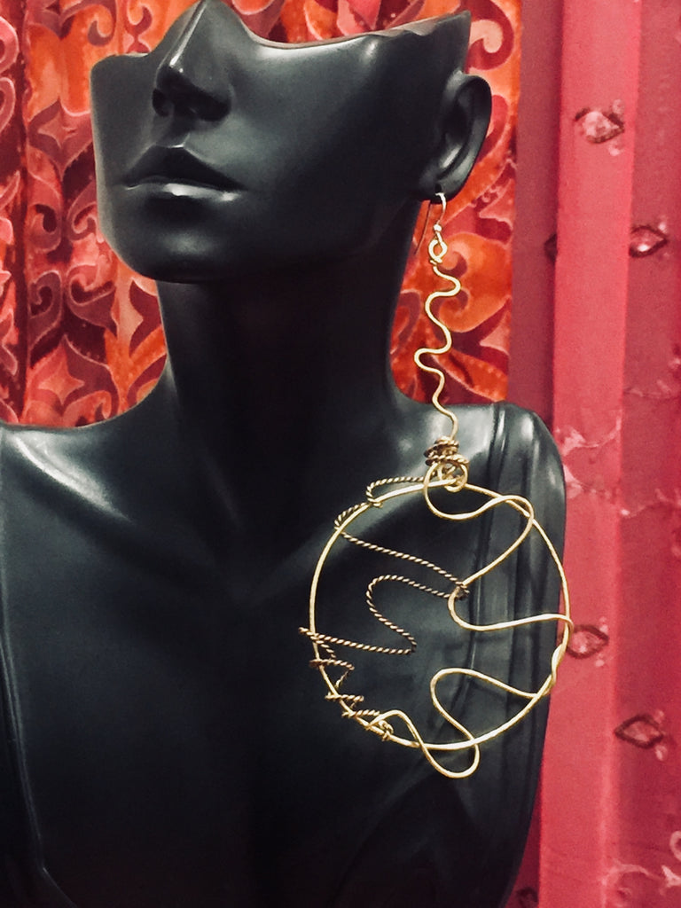 One of a Kind Big Bold Brass Wire Earrings