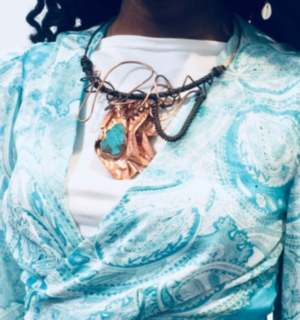One of A Kind Copper and Turquoise  Statement Choker