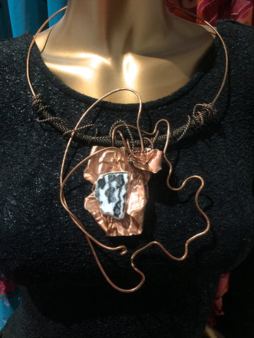 One Of A Kind Utah Zebra Stone and Copper Necklace