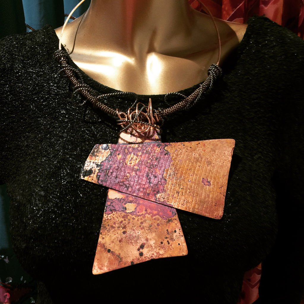 One of A Kind Copper Patina Necklace