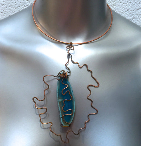 Wire Wrapped Dyed Blue Geode Copper Choker