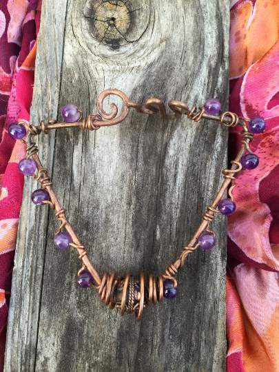 Copper and Amethyst Triangle Wire Bracelet