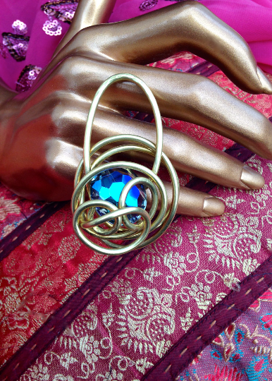 One of A Kind Brass Glass Wire Wrapped Ring