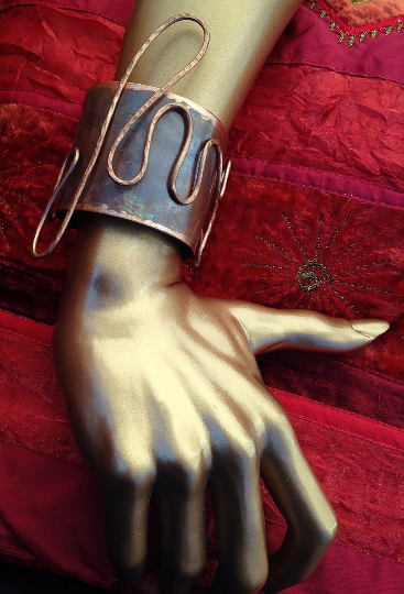 One Of A Kind Copper Patina Cuff  Bracelet