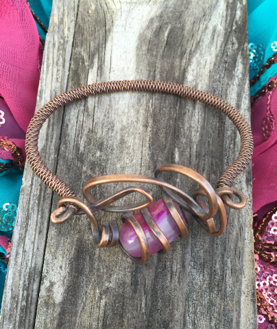 Copper and Pink Agate Wire Bracelet