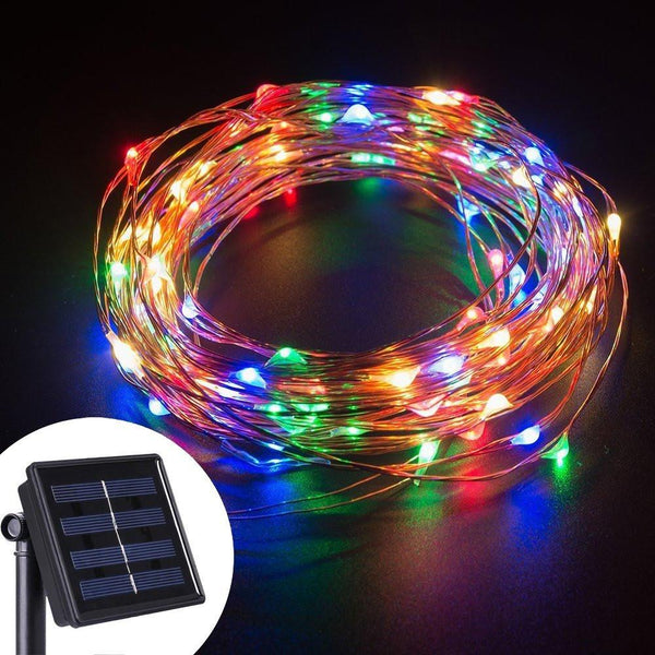 LED String Lights 10M 100 LEDs Solar Powered Copper Wire Fairy Lights My Make-Up Brush Set - US