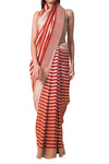 Ekaya Red Striped Banarasi Saree - BY ELORA