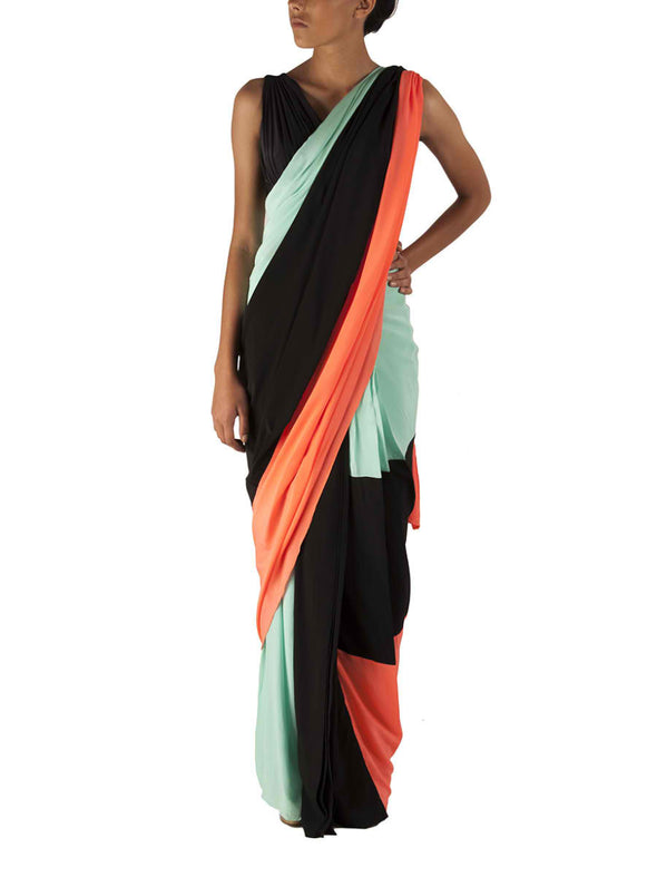 Colour block resort saree