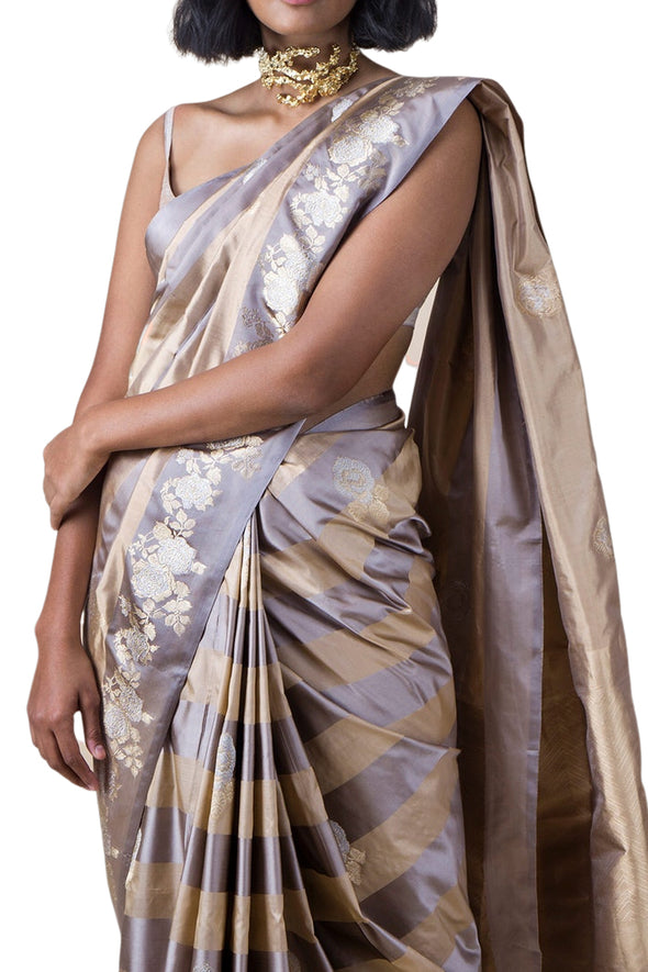 Ekaya gold and grey banarasi silk saree - BY ELORA