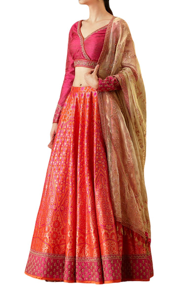 Ekaya Pink Silk Lehenga with Tissue Dupatta - BY ELORA