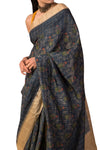 Ekaya digital print charcoal grey silk saree - BY ELORA