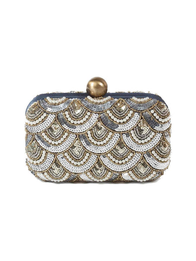 Santi pear and sequins box clutch