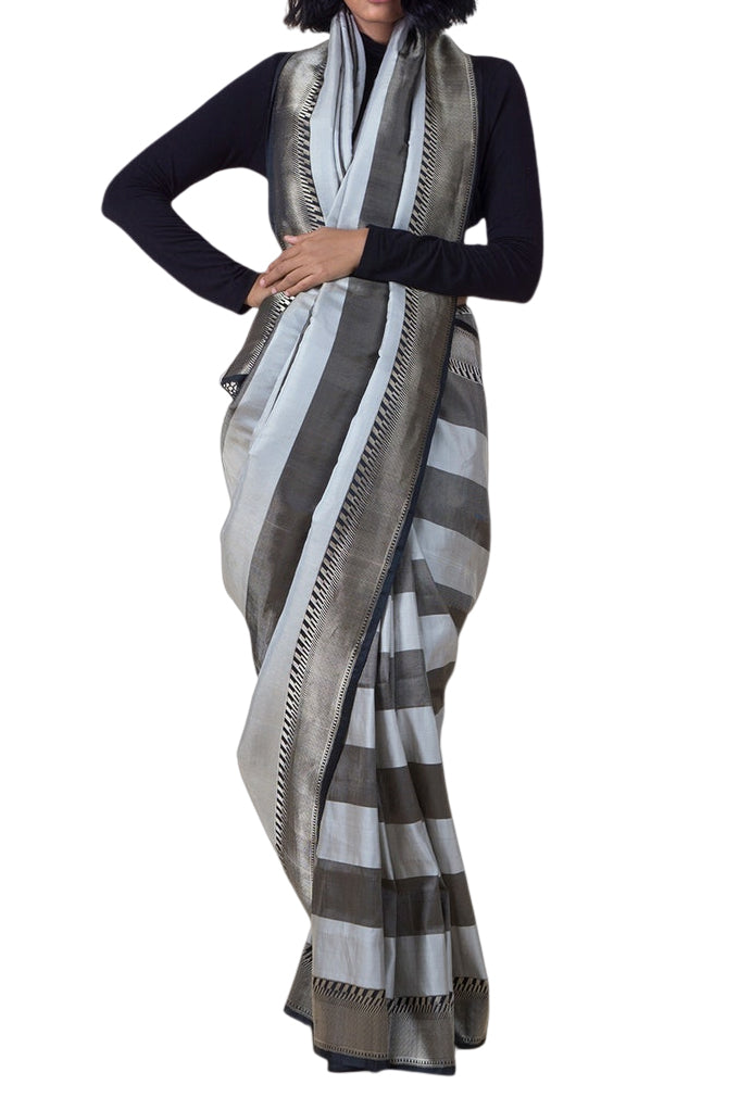 Ekaya Black And Grey Banarasi silk saree - BY ELORA