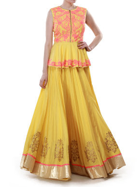 Yellow and Neon Peplum lehenga set