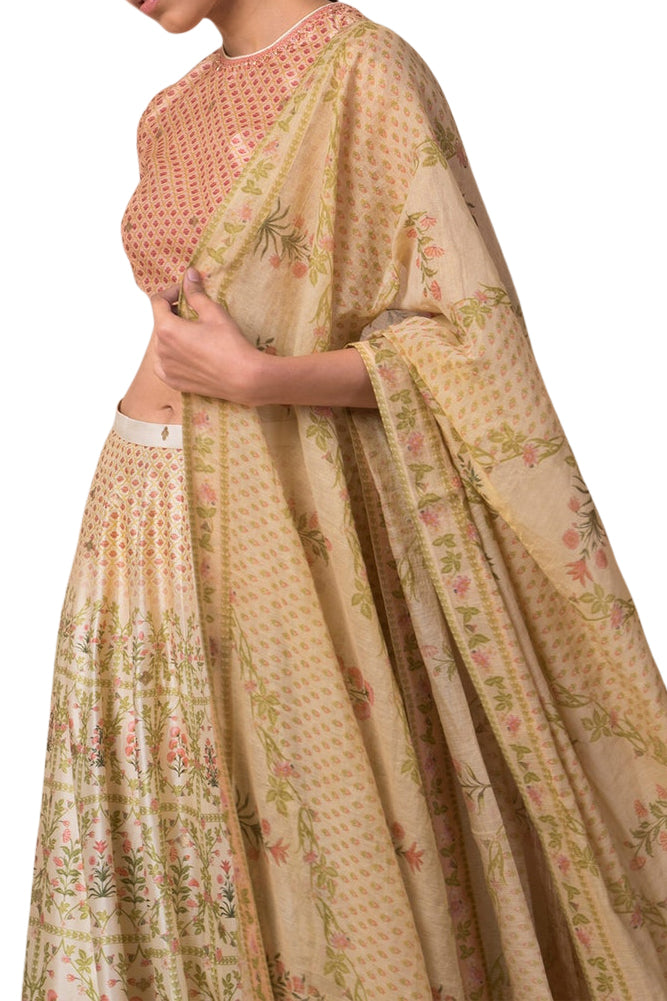 Ekaya Ivory Digital Printed Silk Lehenga - BY ELORA