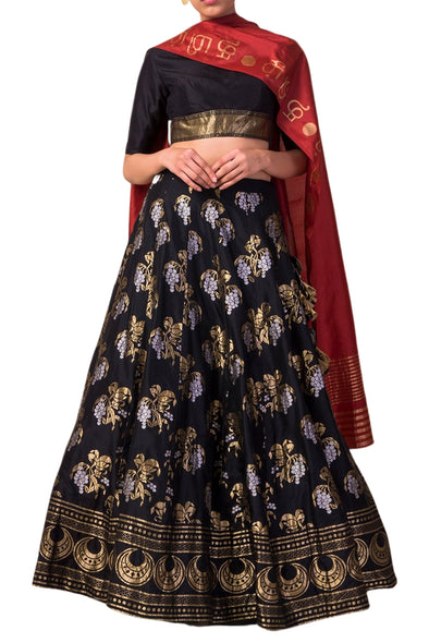 Ekaya Black Silk Lehenga set with Cherry Blossom motifs - BY ELORA