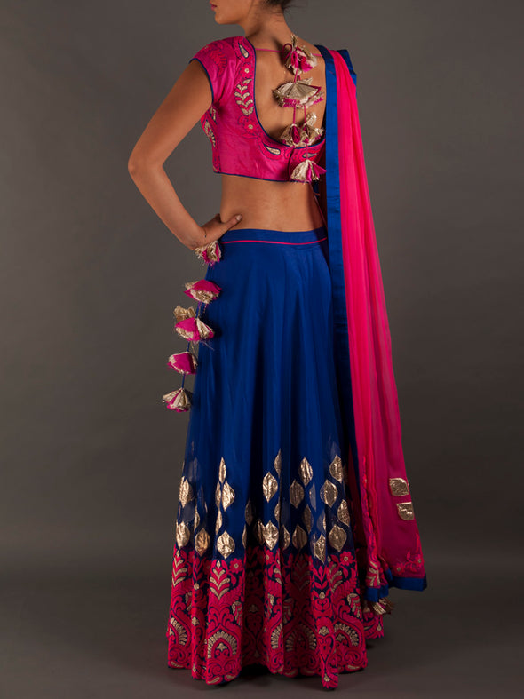 Amrita Thakur Royal Blue Lehenga with Resham Embroidery - BY ELORA