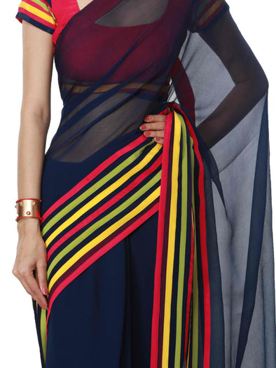 Shaila navy blue saree