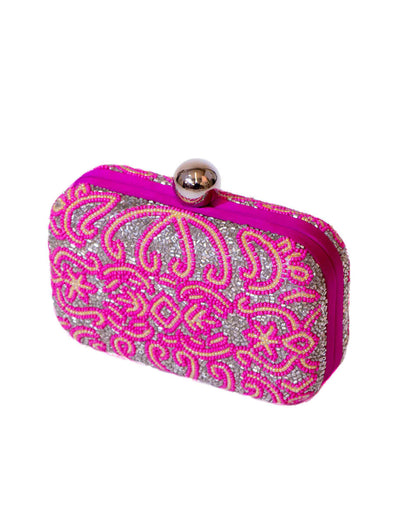 Pink embroidered bag