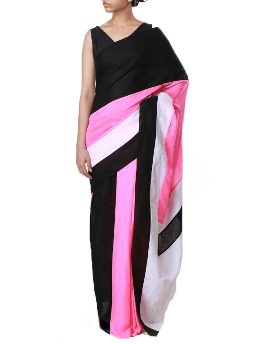 Colour blocked neon pre stitched saree - BY ELORA