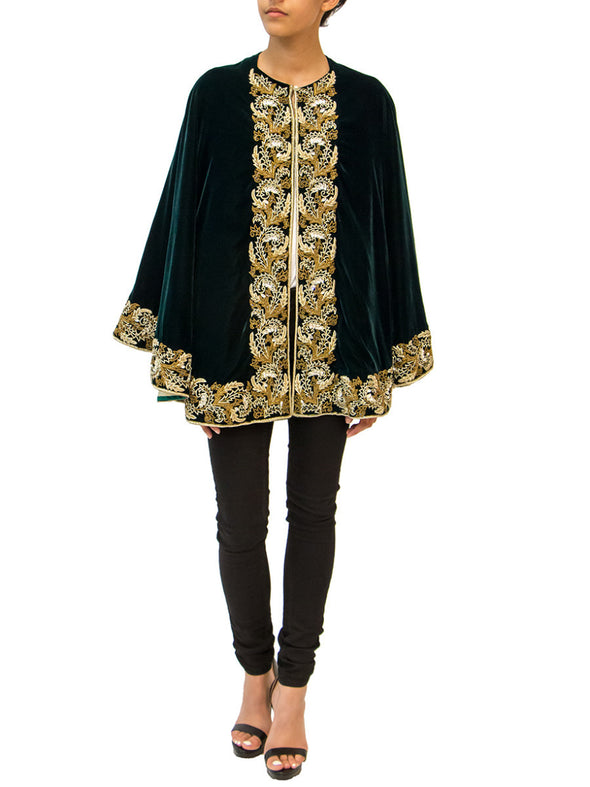 Moss green embroidered cape