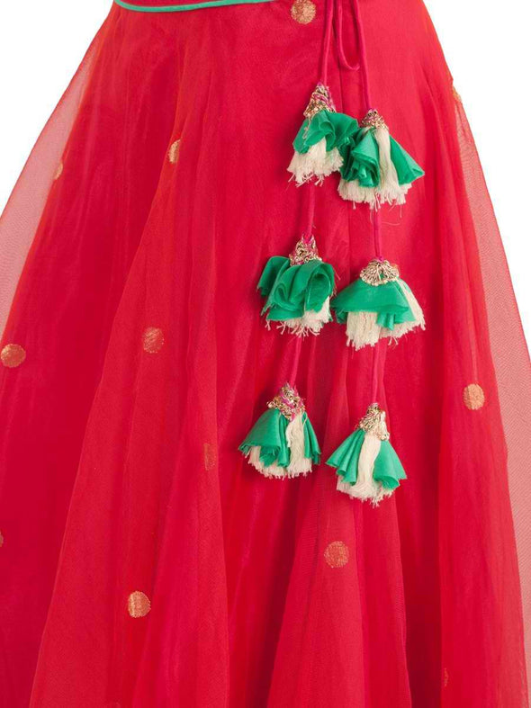 Amrita Thakur Red and Mint Lehenga - BY ELORA