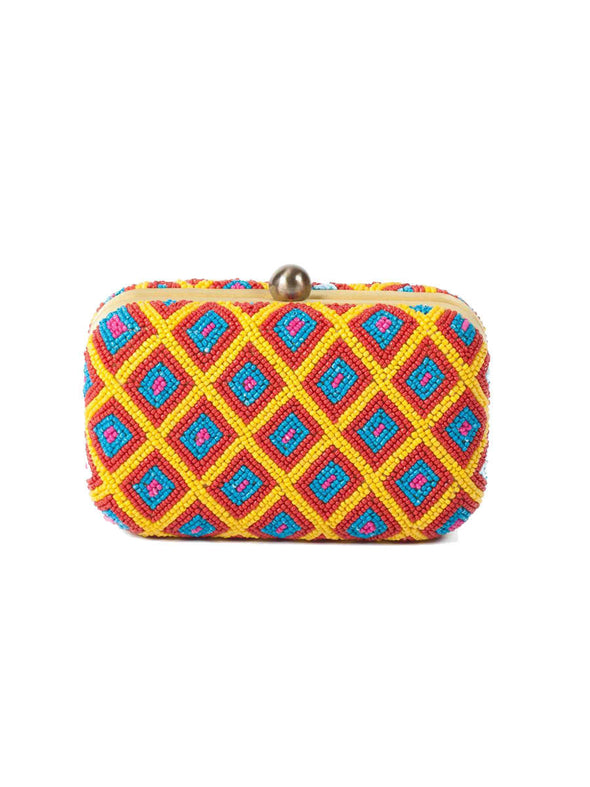 Geometric beadwork box clutch
