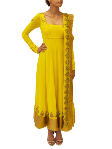 Canary yellow anarkali