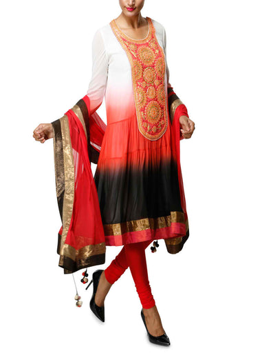 Graded indian suit in red black white