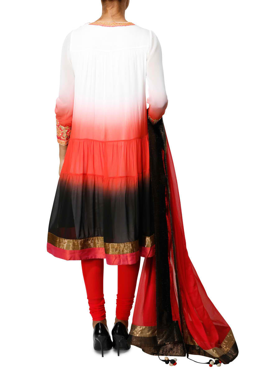 Graded indian suit in red black white - BY ELORA